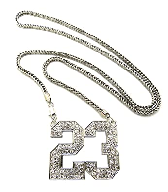 Amazon new iced out number 23 pendant 4mm36 franco chain hip new iced out number 23 pendant 4mm36quot franco chain hip hop necklace xp906r aloadofball Image collections
