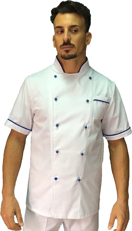 Giacca Cuoco Chef Basic Made in Italy Casacca Bianca con Profili Royal tessile astorino Ricamo Gratuito