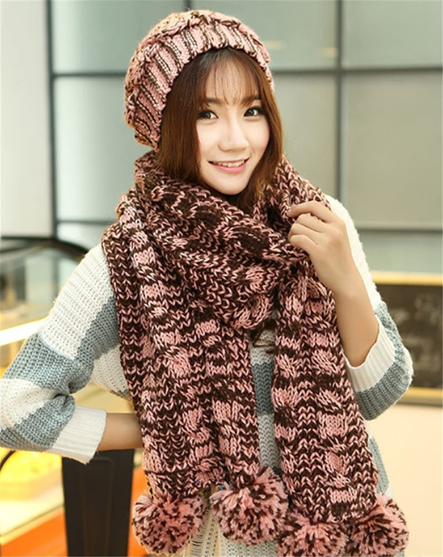 Fashion Winter Warm Girls Women Hat Scarf Set Cute Ball Wool Knit Hat