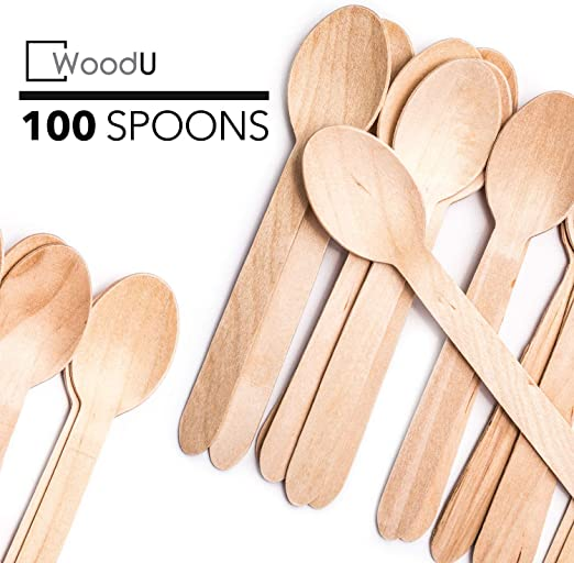 100 Pcs WOODEN SPOONS Biodegradable Cutlery Disposable Birchwood Party Tableware