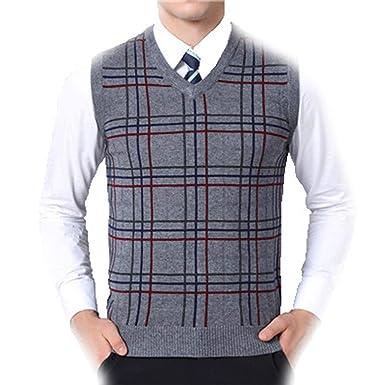 LOG SWIT Autumn New Casual Loose Men Sweaters Vest Plaid Printing Mens  Sweaters Pullover Vest Dark 293370653