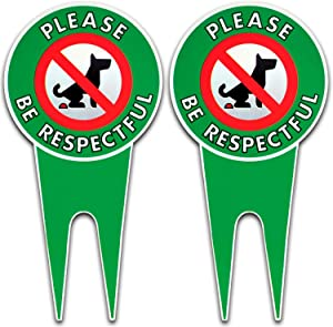 Art Wall Decor Two No Poop Dog Signs   Stop Dogs from Pooping On Your Lawn   Sign Politely Reads: Please Be Respectful   Protect Your Property! (No Pooping Bundle of 2) Vintage Signs Aluminum Plates