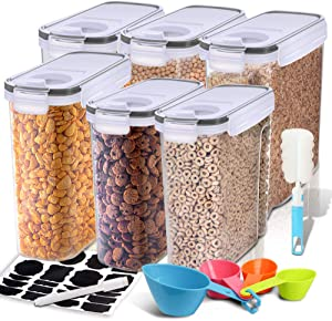 Cereal Container, EAGMAK Airtight Dry Food Storage Containers, BPA Free Large Kitchen Pantry Storage Container for Flour, Snacks, Nuts & More (Black, Set of 6)