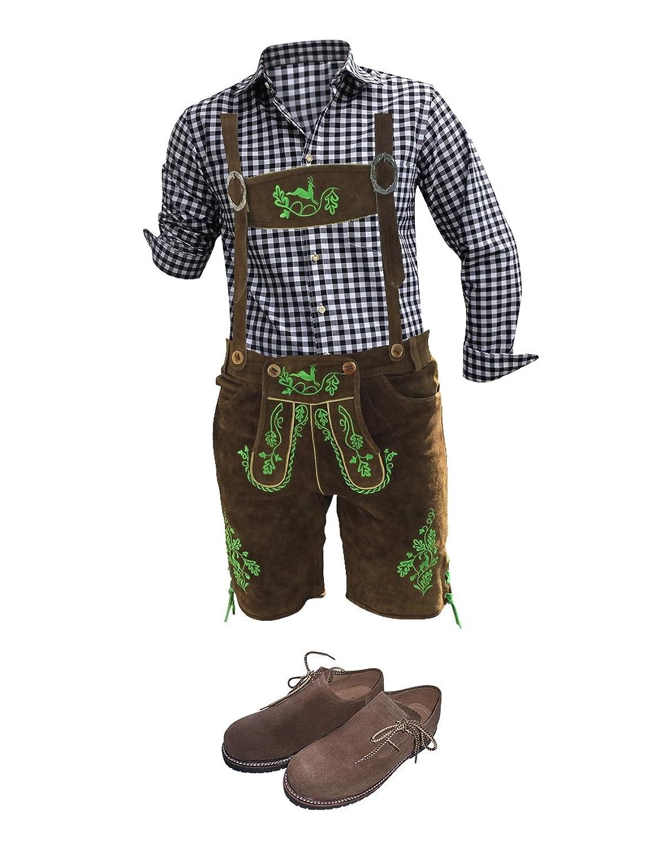 Trachten-Anzug Lederhosen Plattler+Hemden+Schuhe (Haferl)+Strümpfe+Träger Braun Echt Leder Herren (46)
