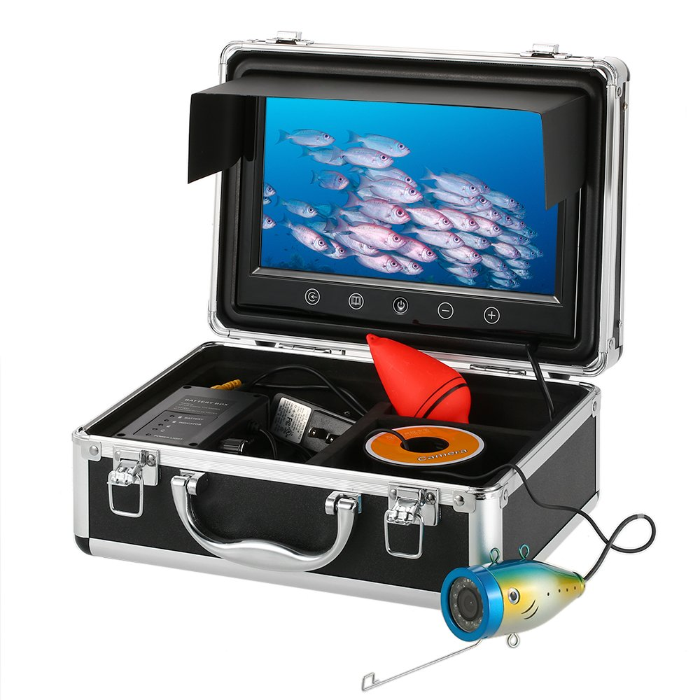 Lixada 1000TVL Waterproof Underwater Fishing Camera Touch Button 9'' LCD Monitor 12PCS LED Lamp Fish Finder 150 Degree Wide Angle