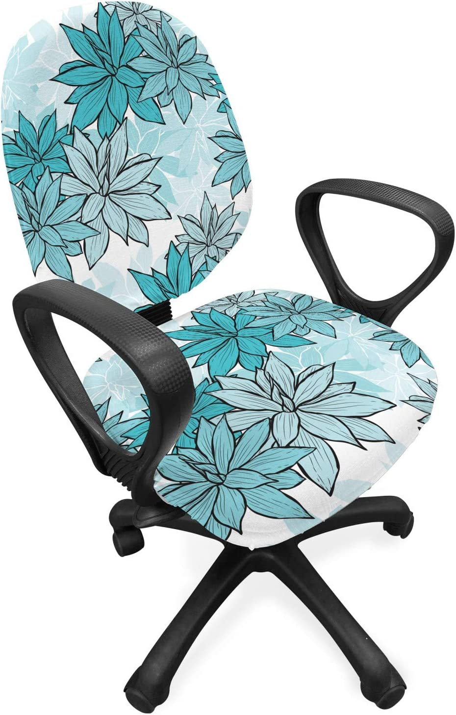 Lunarable Turquoise Office Chair Slipcover, Continuous Hand Drawn Floral Succulents Illustration, Protective Stretch Decorative Fabric Cover, Standard Size, Blue Sky