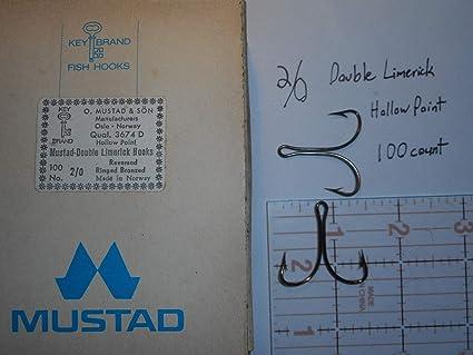 100 MUSTAD 2//0 DOUBLE Fly Lure LIMERICK HOOKS REVERSED Ringed Open Shank 3674D