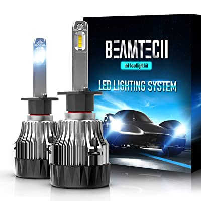 BEAMTECH H1 LED Headlight Bulb,30mm Heatsink Base CSP Chips 10000 Lumens 6500K Xenon White Extremely Super Bright Conversion Kit of 2: Automotive