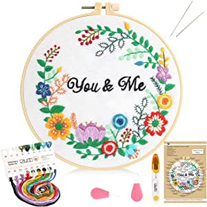 Caydo Embroidery Starter Kit with Pattern and Instructions, Cross Stitch Kit Include Embroidery Clothes with Alphabet Garland Pattern, Plastic Embroidery Hoop, Color Threads and Tools