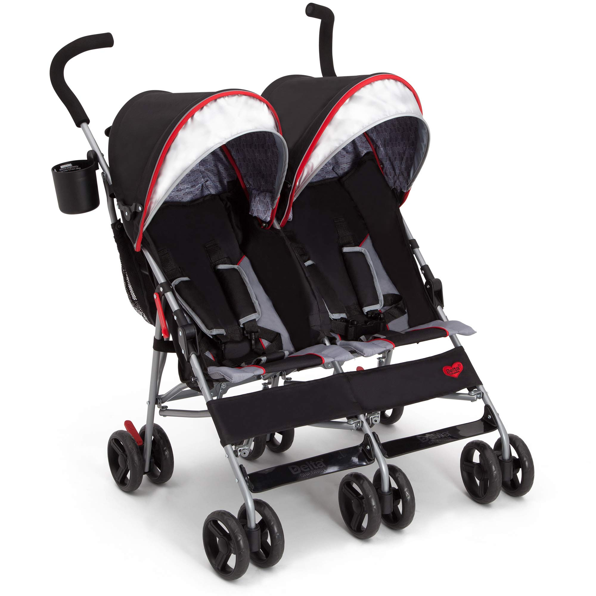 Delta Children LX Plus Side x Side Double Stroller, Red Triangle by Jeep