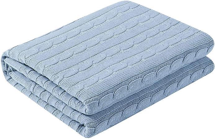 cama para sof/á Sourcingmap azul Manta de punto de algod/ón 47 x 70 muy suave Throw