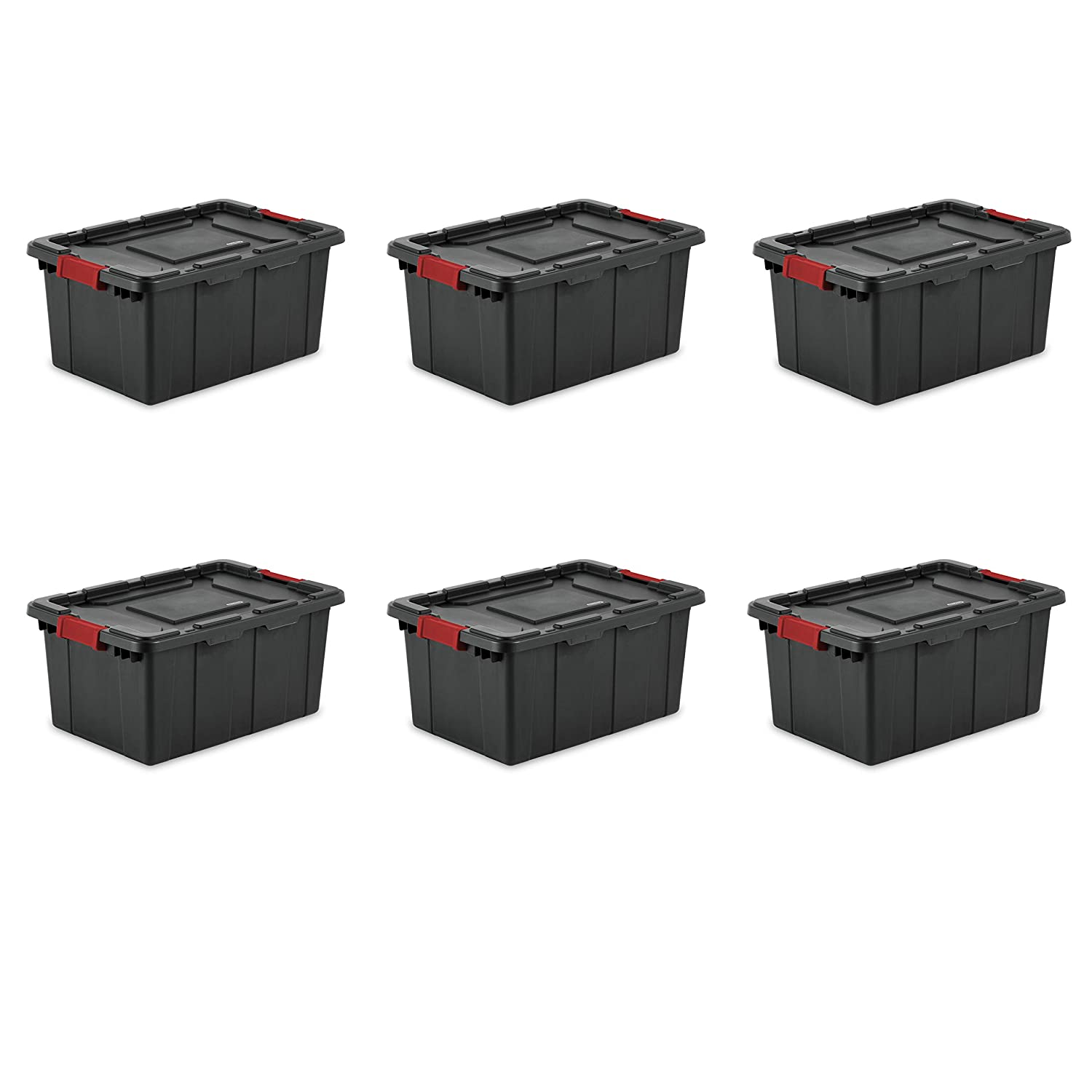 Sterilite 14649006 15 Gallon/57 Liter Industrial Tote, Black Lid & Base w/ Racer Red Latches, 6-Pack