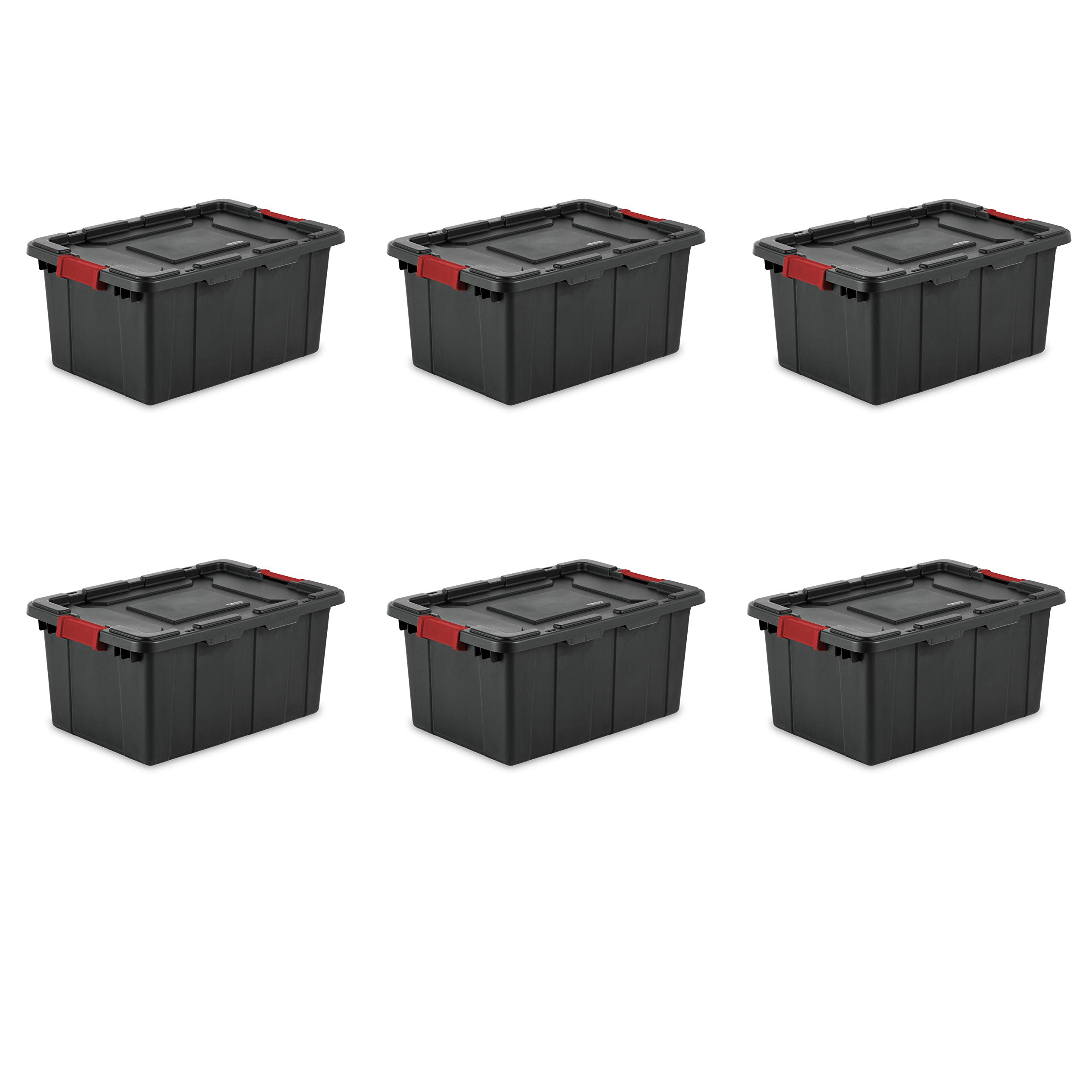 Sterilite 14649006 15 Gallon/57 Liter Industrial Tote, Black Lid & Base w/ Racer Red Latches, 6-Pack by STERILITE