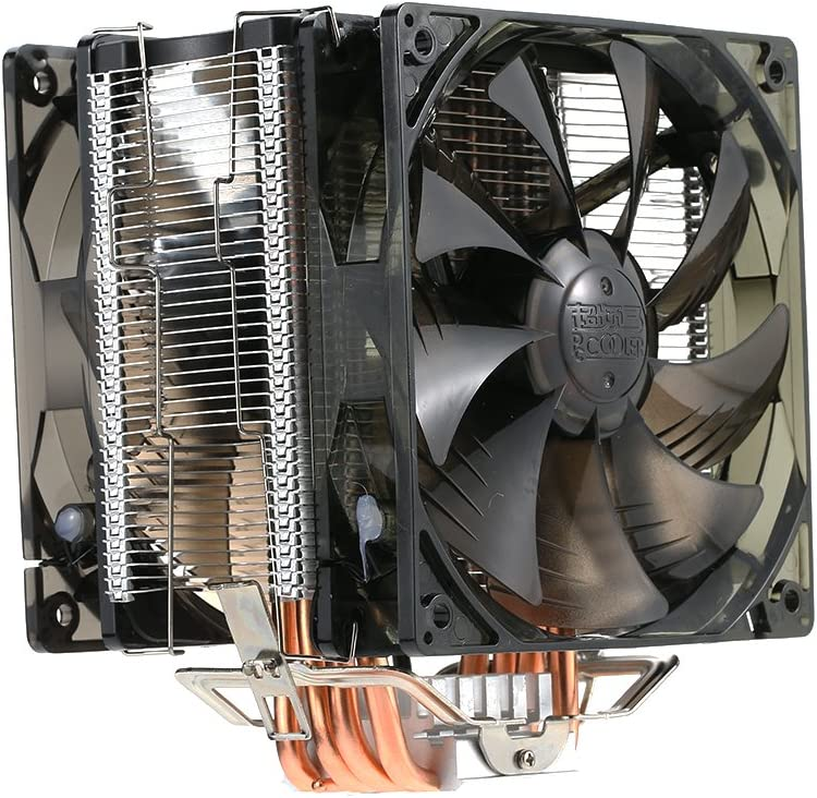 Artboy 5 Heatpipes Radiator Quiet 4pin CPU Cooler Heatsink Fan Cooling with Dual 120mm LED Fans for Desktop Computer