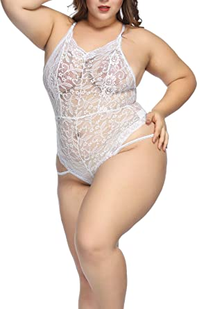 78c47cc744a Womens Sexy Lace Bodysuit Fishnet Teddy Mesh Lingerie Plus Size at Amazon Women's  Clothing store: