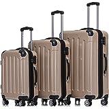 BEIBYE- 3er Kofferset Hartschalen-Koffer Reisekoffer Trolley Rollkoffer Set Reisekofferset (Champagner)