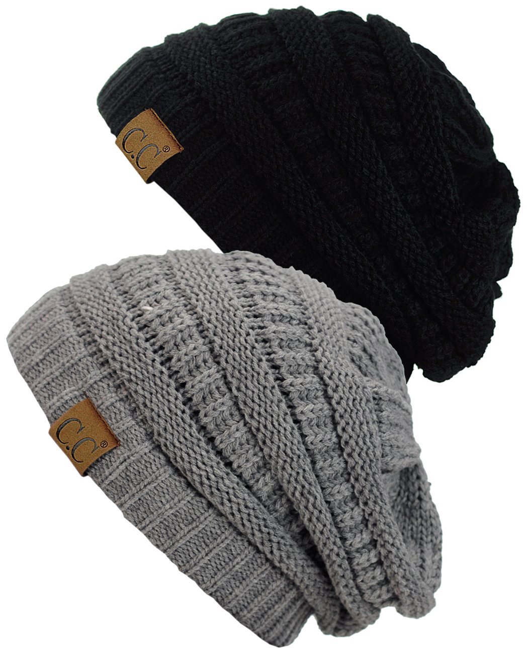 C.C Trendy Warm Chunky Soft Stretch Cable Knit Beanie Skully, 2 Pack 2 Pack Beige/Dark Olive HAT20A SET-BG/NEW OLV