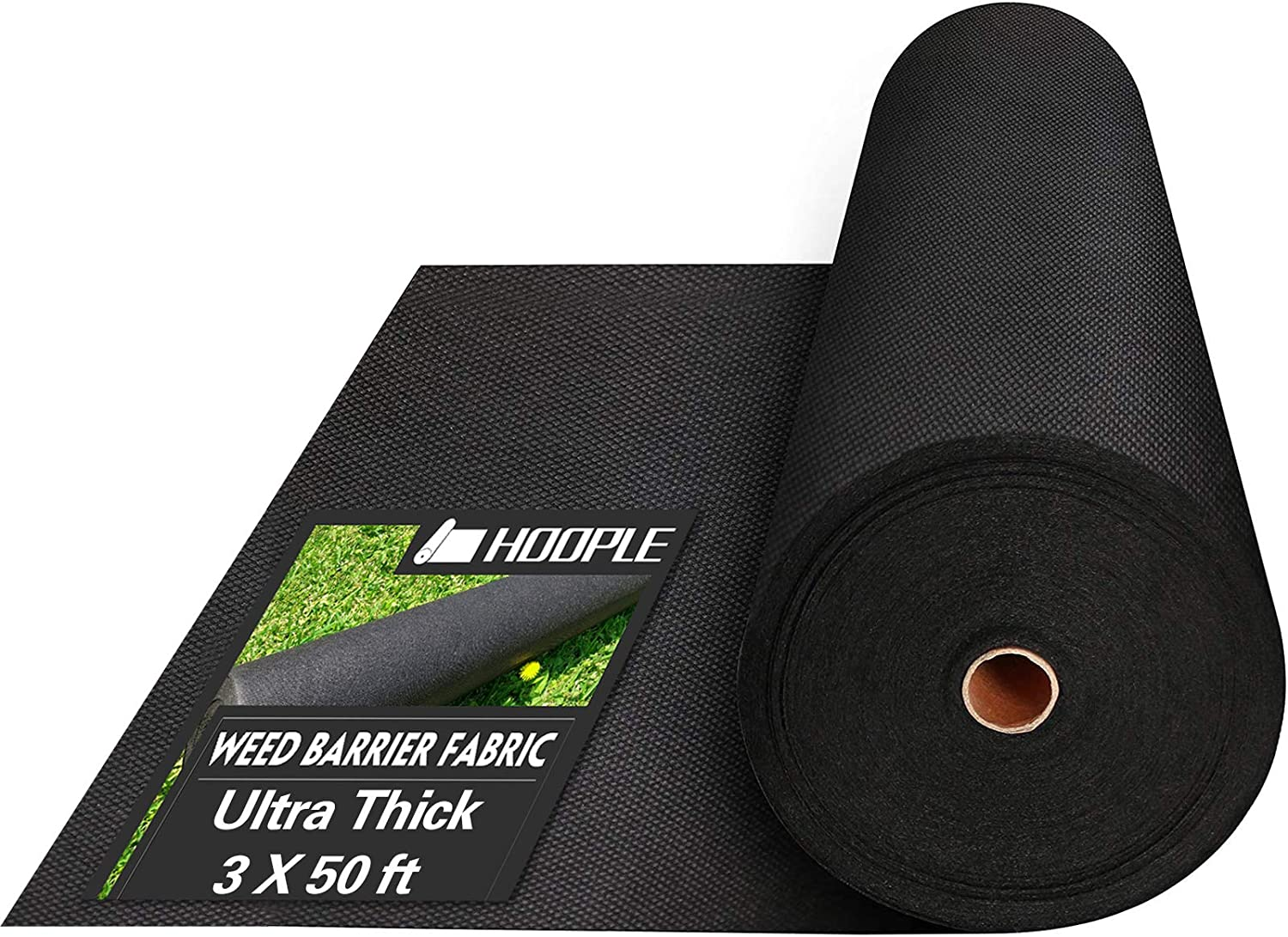 HOOPLE 3 X 50ft Garden Landscape Fabric, Premium Ground Cover Heavy Duty Commercial Gardening Mat, for Flower Bed, Mulch, Pavers, Edging, Garden Stakes. Ultra Thick, 3 x 50ft, Black