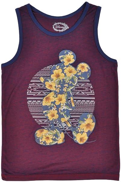 76628feca6f39 Amazon.com  Disney Mickey Mouse Floral Tank Top Shirt Heather Maroon ...