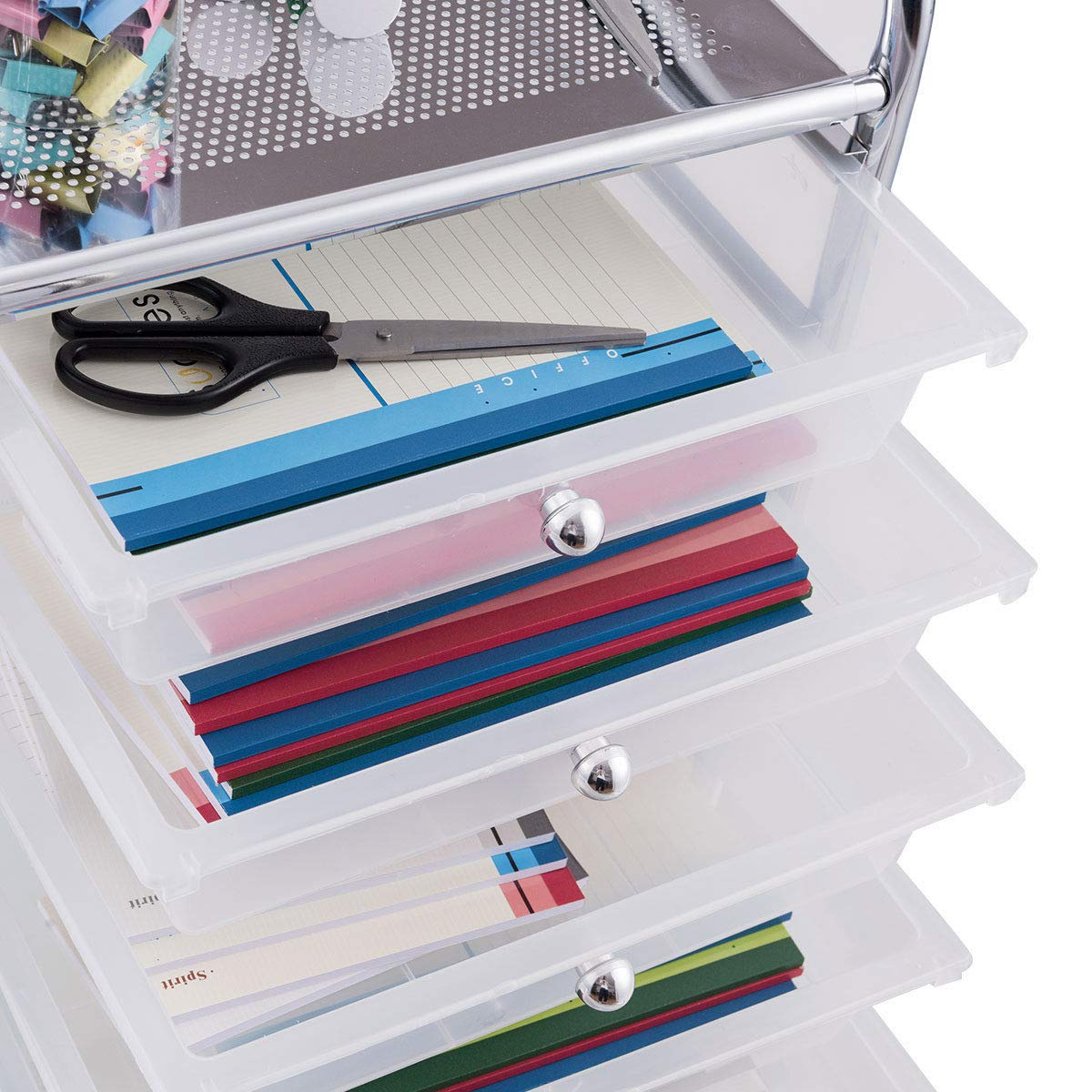 Giantex 10 Drawer Rolling Storage Cart Scrapbook Paper Office School Organizer (Clear) by Giantex (Image #7)