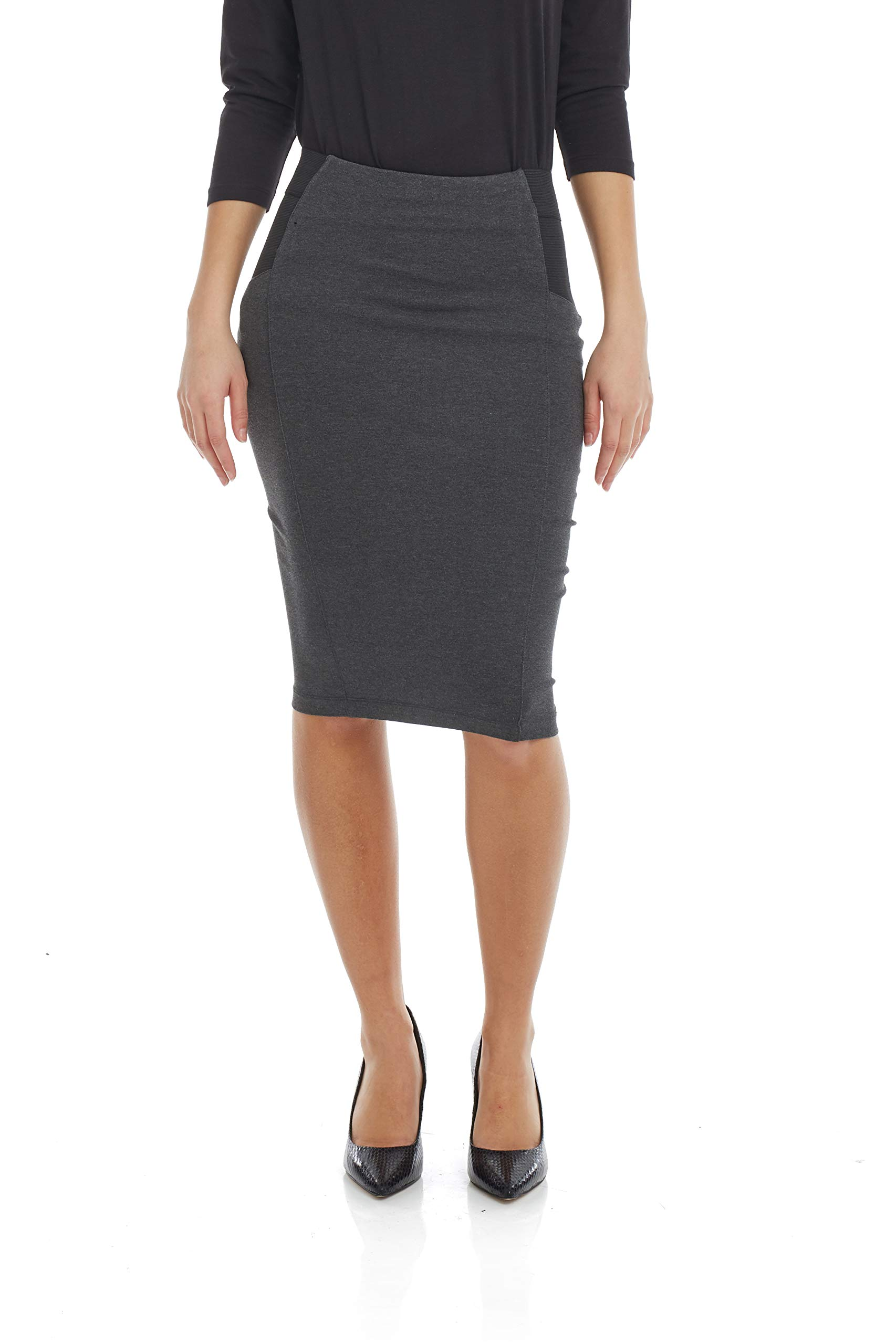 a5ae2c4852e0a Esteez Women s Pencil Skirt – Ponte Knit - Knee Length – Slimming Side  Panels - Charlotte