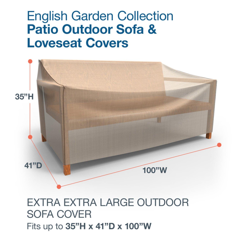 Amazon.com : Budge English Garden Outdoor Patio Sofa Cover, Extra Extra  Large (Tan Tweed) : Garden U0026 Outdoor