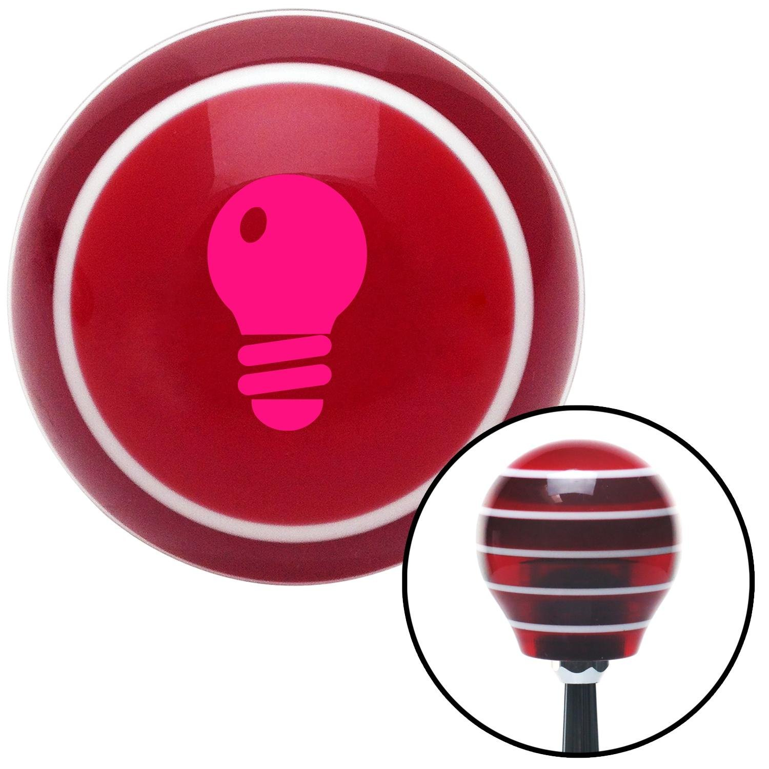 American Shifter 117141 Red Stripe Shift Knob with M16 x 1.5 Insert Pink Light Bulb