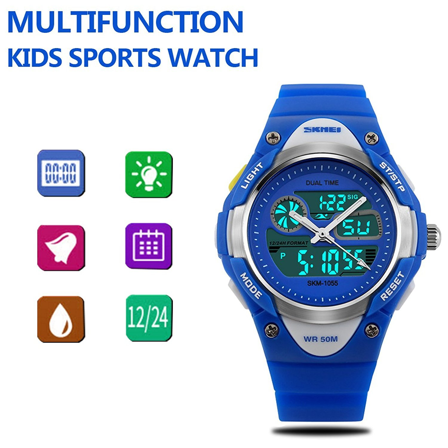Girls Watches Digital Analog Dual Time Display Watch for Teens Youth Waterproof Rose by AMCAS (Image #4)