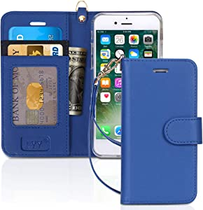 """FYY Case for iPhone 8/iPhone 7/iPhone SE 2020 4.7"""",[Kickstand Feature] Luxury PU Leather Wallet Case Flip Folio Cover with [Card Slots][Wrist Strap] for iPhone 8 2017/7 2016 (4.7"""")/SE 2020 Navy"""