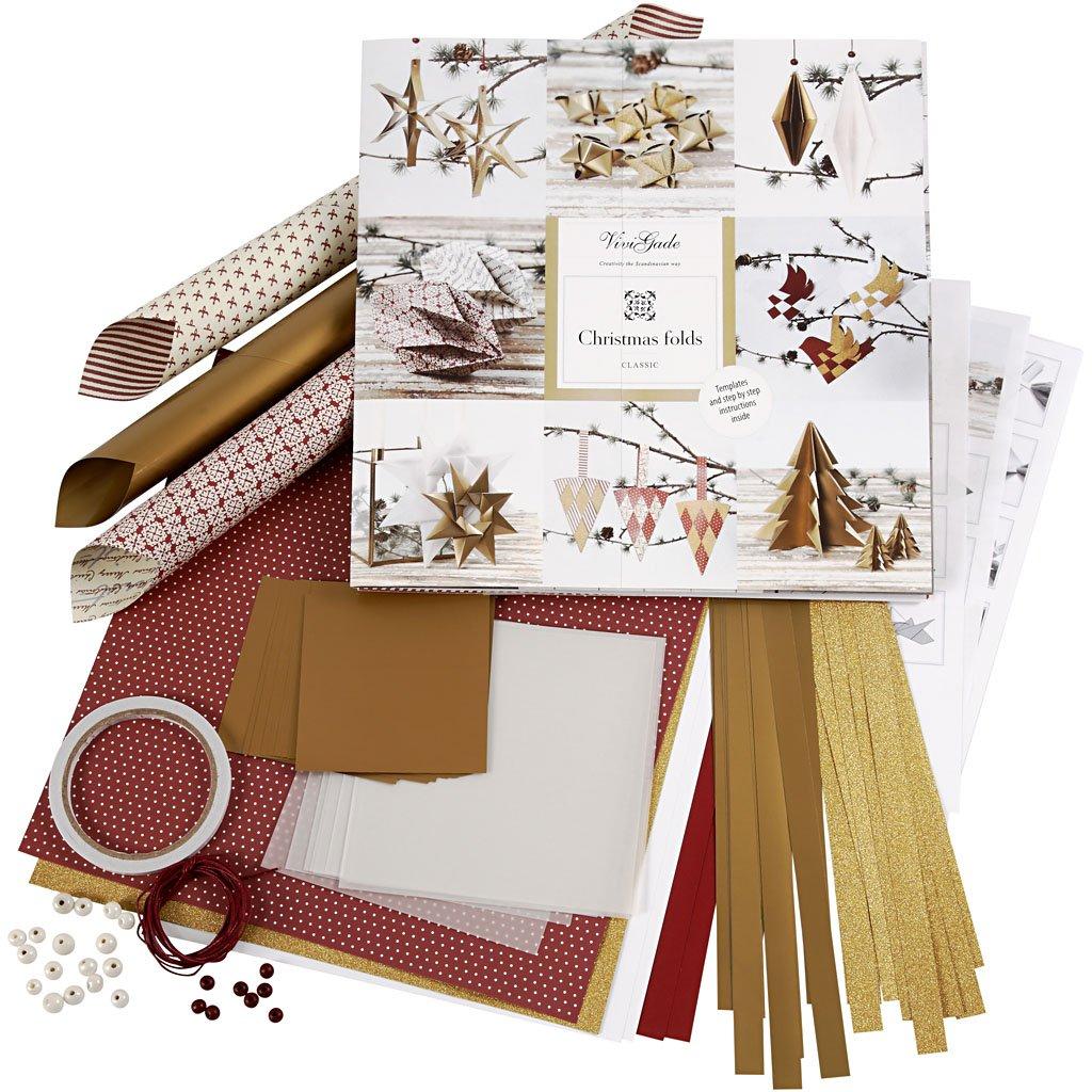Set di materiale da intrecciare e piegare, oro, rosso, Copenhagen, 1set Vivi Gade Design