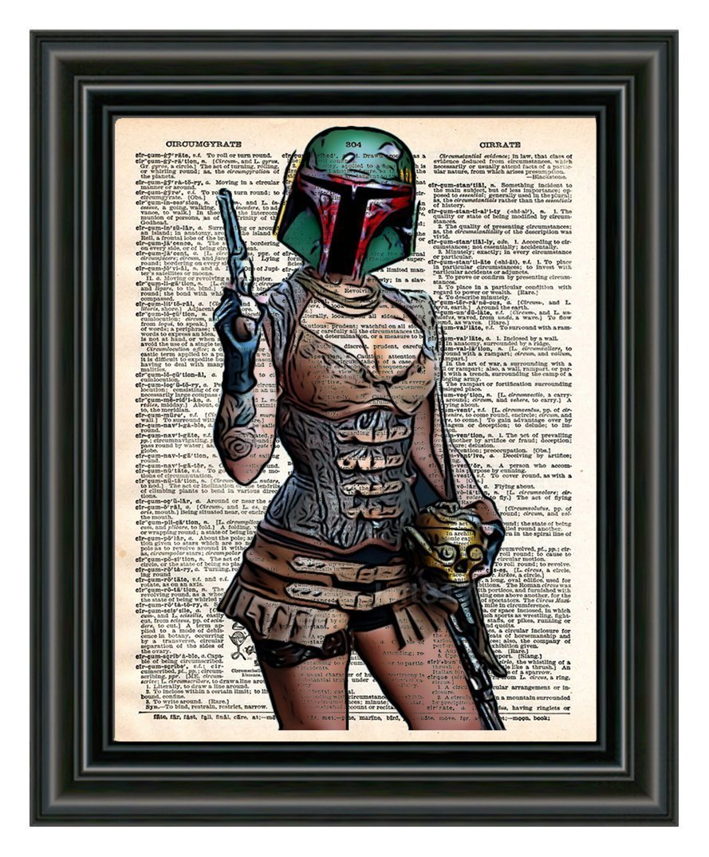 Boba Fett pin up girl, star wars art, sexy star wars, cool pop art, vintage dictionary art print 3