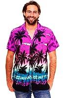 Original King Kameha | Funky Hawaiihemd | Herren | XS - 12XL | Kurzarm | Front-Tasche | Hawaii-Print | Strand Palmen Meer | Violett