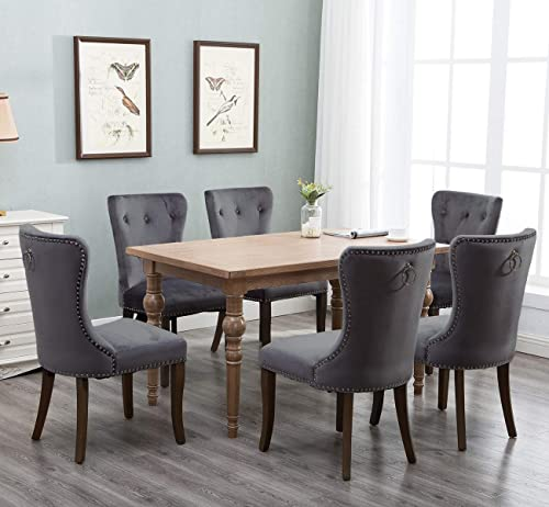 Harper Bright Designs Set of 6 Victorian Dining Chair Tufted Armless Chair Upholstered Accent Chairs Velvet Grey
