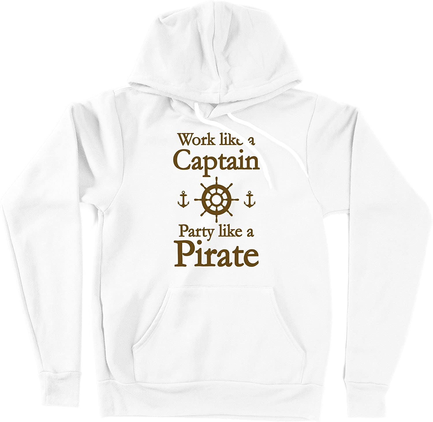 VectorPlanet Work Like A Captain Party Like A Pirate Hoodie White
