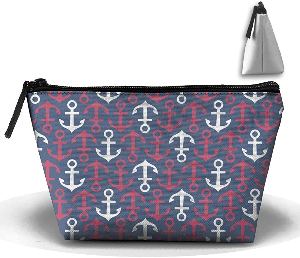 Anchor Repeat Pattern Multifunction Portable Pouch Trapezoidal Storage Toiletry Bag