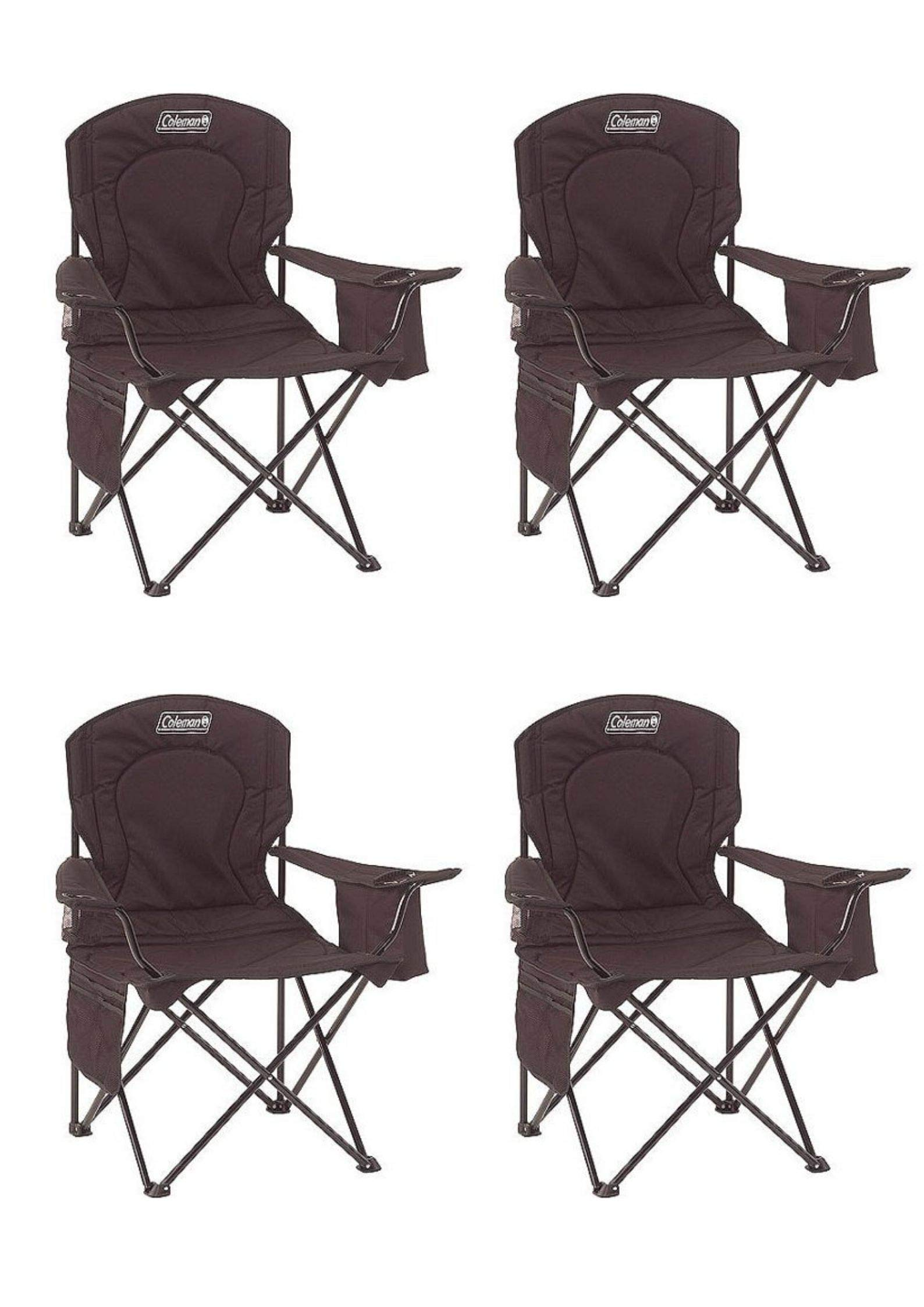 Coleman Portable Camping Quad Chair with 4-Can Cooler (Black/Pack of 4)