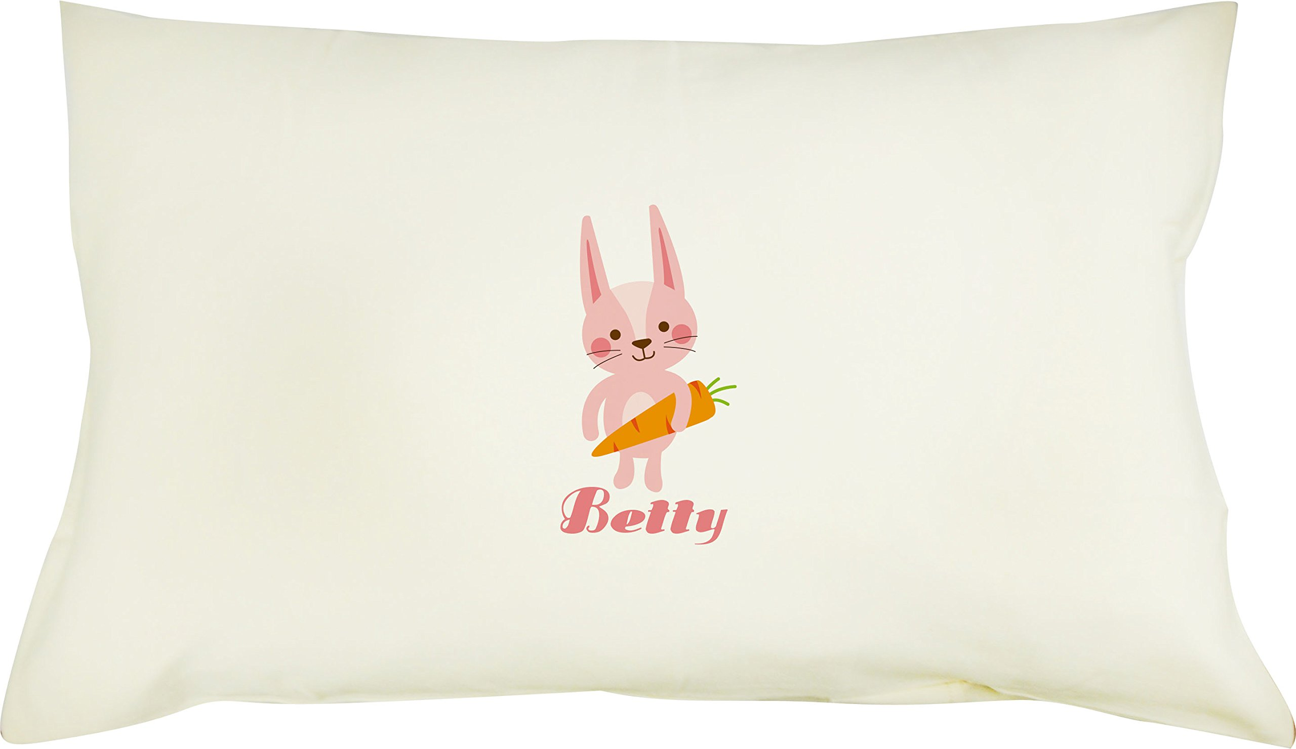 TotMart Personalized Girl's 100% Cotton Pillowcase with Hypoallergenic Pillow Standard 19 X 12.5 (Rabbit)