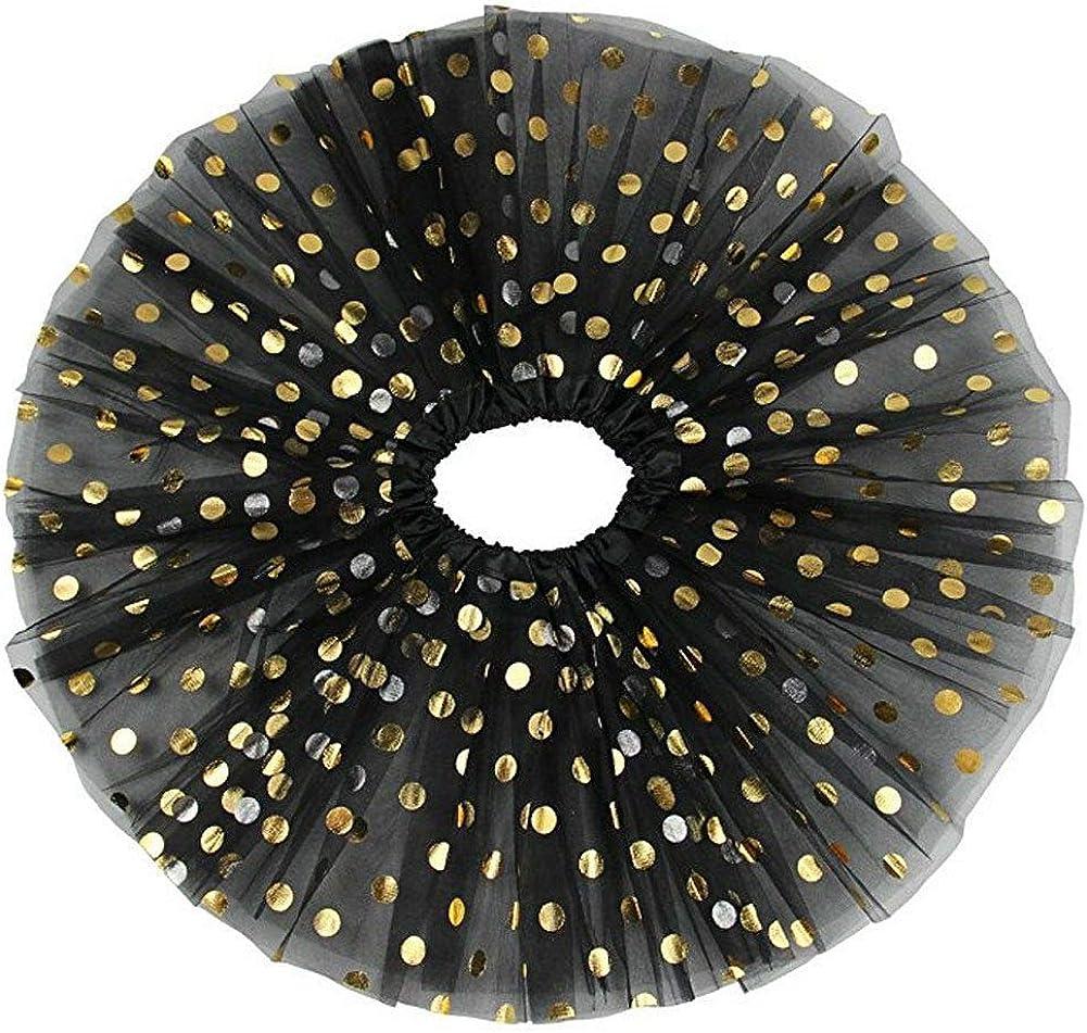 "QIN - OKC 12"" Girls Fluffy Birthday Christmas Tutu Skirt/Princess Ballet Dance Sparkle Star Polka Dot Solid Sequins Tutus 3-8 Y (Polka dot Black): Clothing"