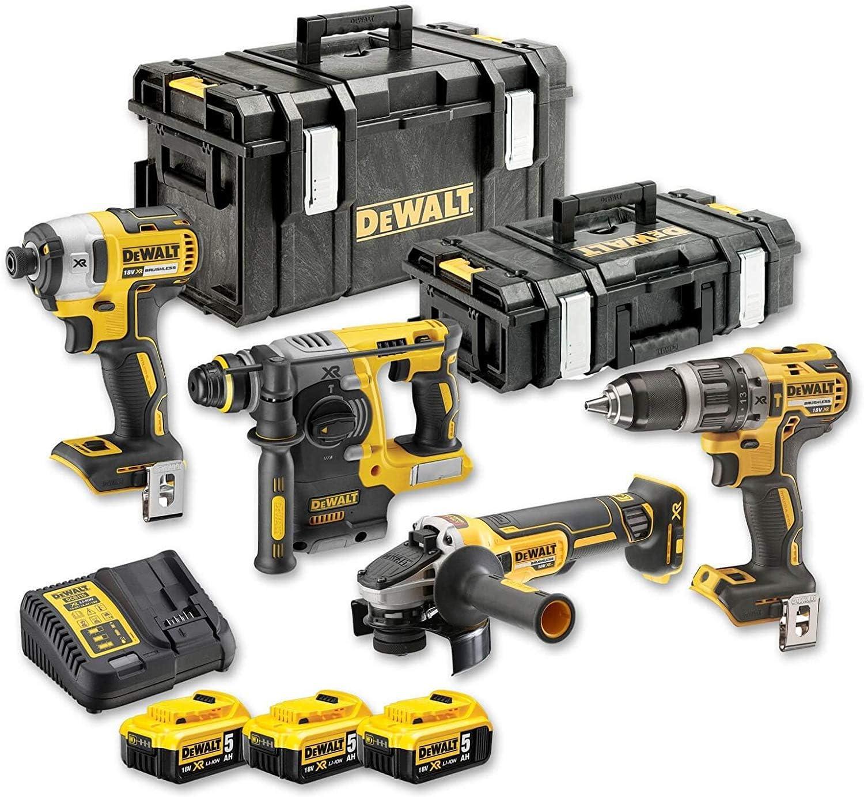 Kit de 4 herramientas sin cepillo, 18 V, negro/amarillo