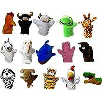 Vinayaks (10 pcs Random) Animal Hand Puppets Set: Rabbit,Elephant ,Monkey, Fox, Cow,Horse,Bear,Snake,Fish,Parrot,Donkey,Tiger, Peacock,Crow,Lion, Dog, Cat ,Tortoise,Goat Puppets for Kids