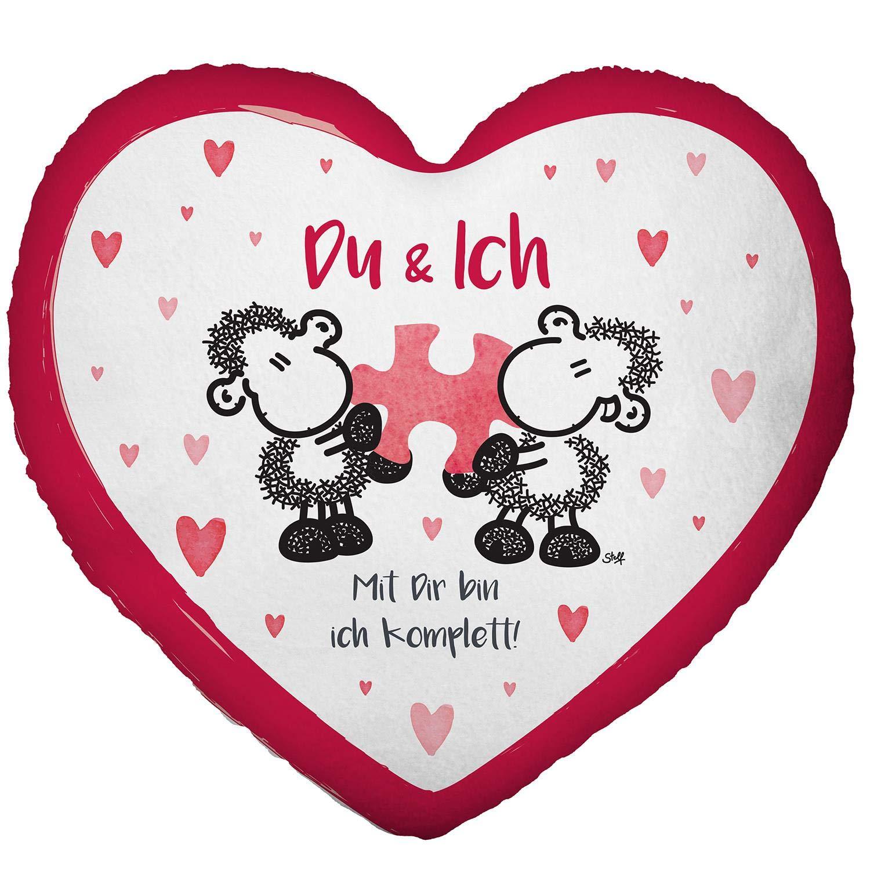 """Geschenk-Artikel /&  42622 Tasse Schatz Sheepworld 42693 Pl/üsch-Kissen in Herz-Form /""""/… damit Du wei/ßt 30 cm x 27 cm dass ich immer an dich denke!/"""""""