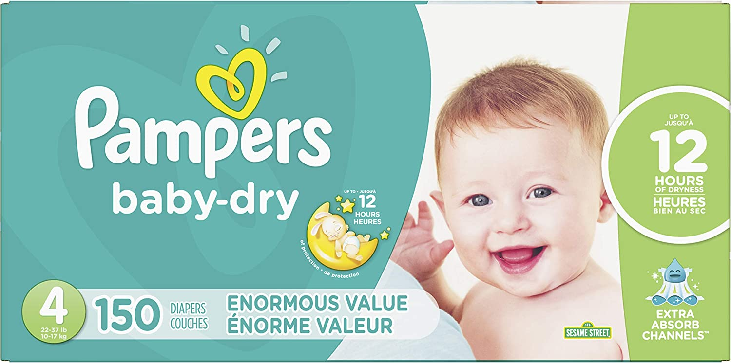 Diapers Size 4, 150 Count - Pampers Baby Dry Disposable Baby Diapers, Enormous Pack