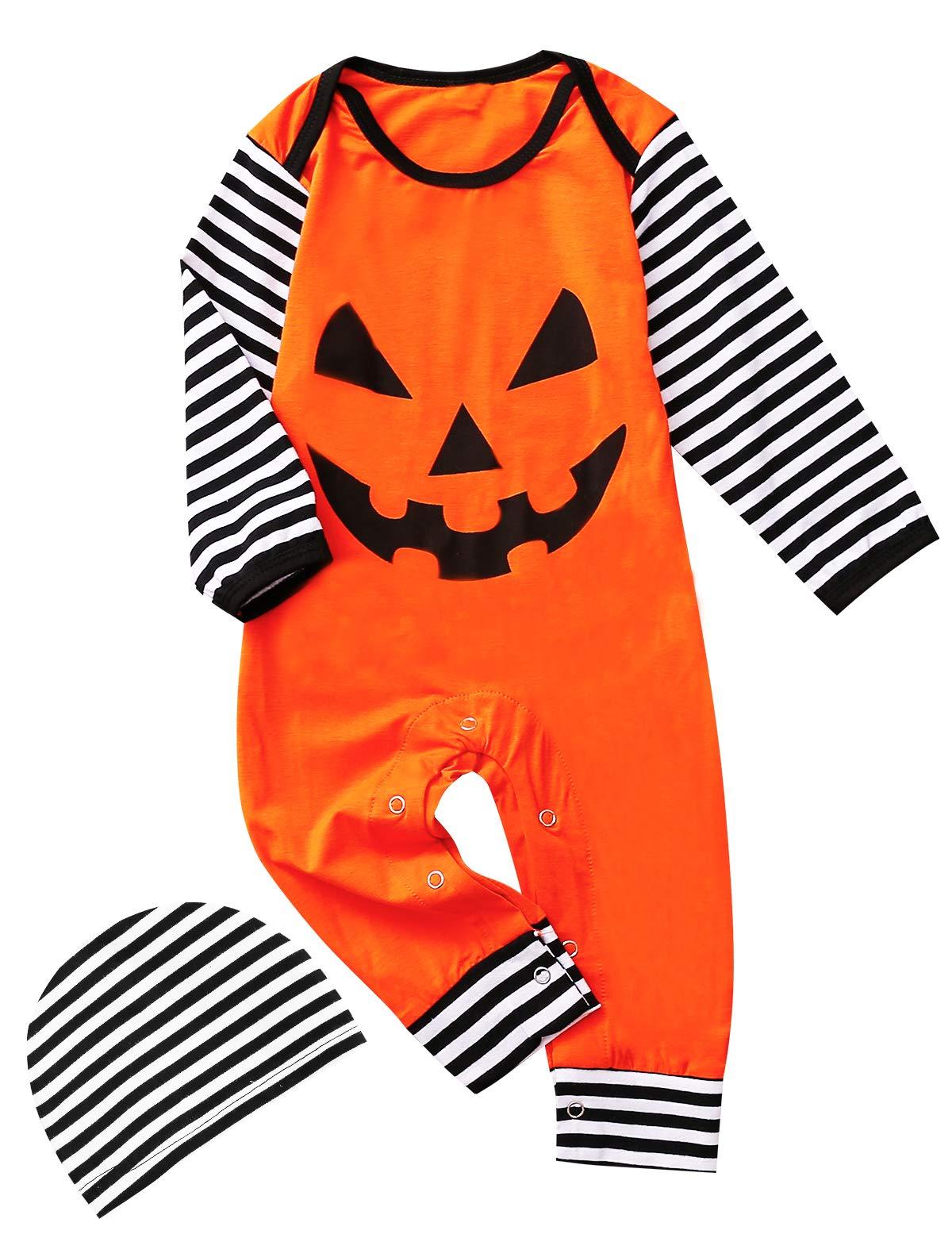 COSLAND Baby Boys Pumpkin Halloween Costume Hooded Romper