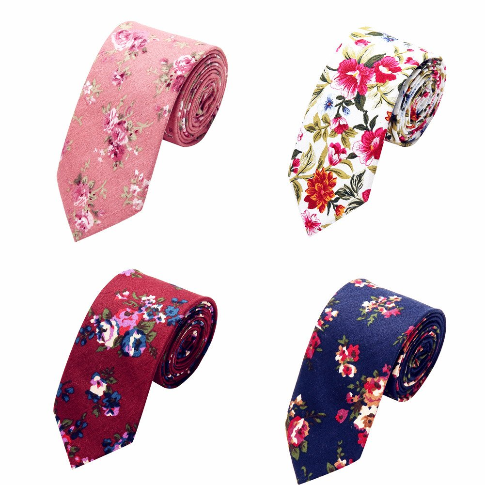 Ausky 4 Packs Cotton Floral Skinny Neckties for Men Boys in Different Flower (Floral B) by AUSKY (Image #7)