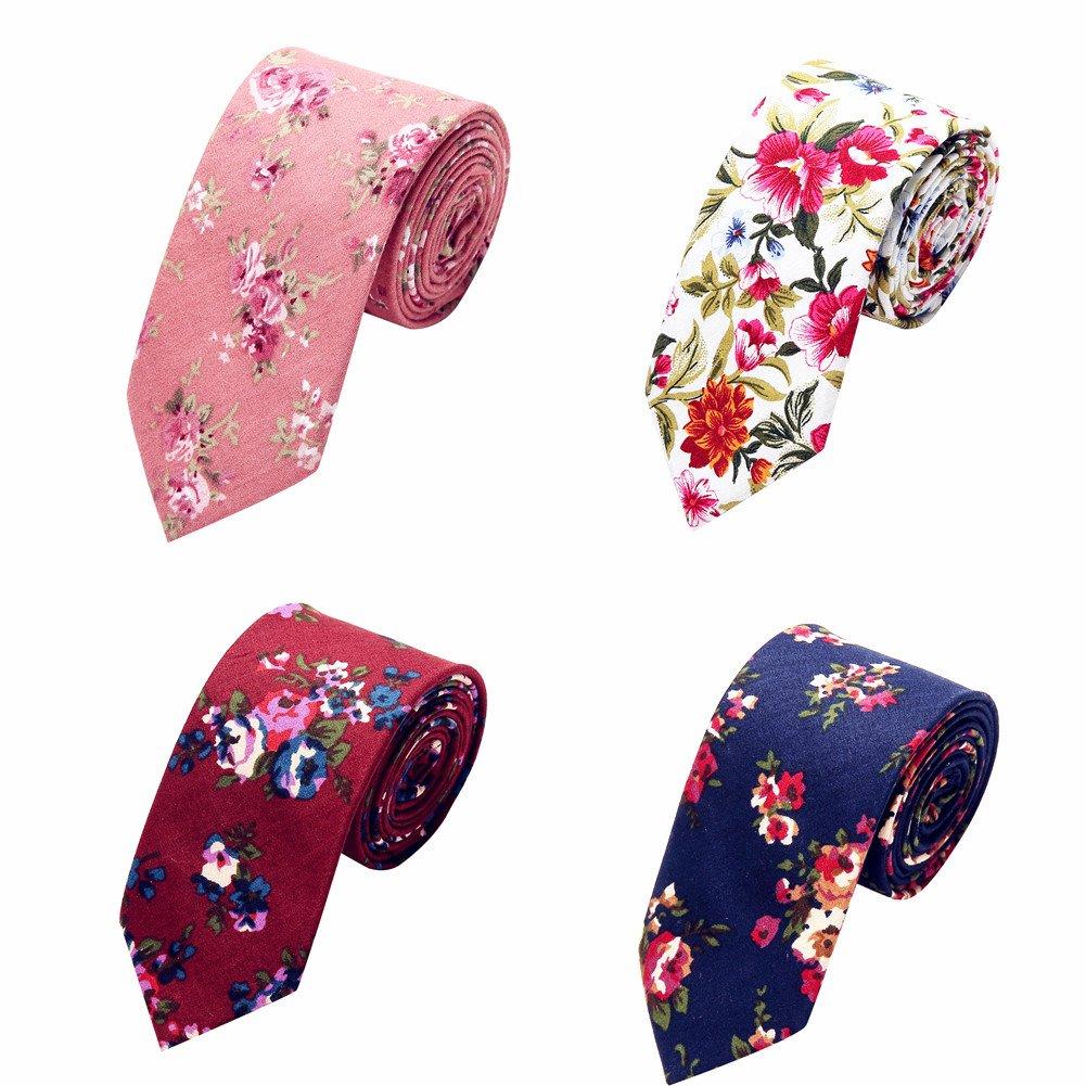 Ausky 4 Packs Cotton Floral Skinny Neckties for Men Boys in Different Flower (Floral B)