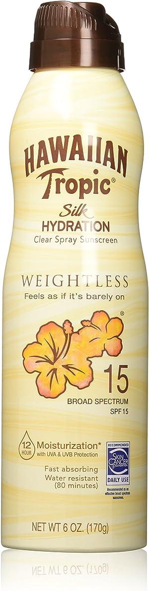 Hawaiian Tropic Silk Hydration Weightless Clear Spray Sunscreen, Broad-Spectrum Protection, SPF 15, 6 Ounces