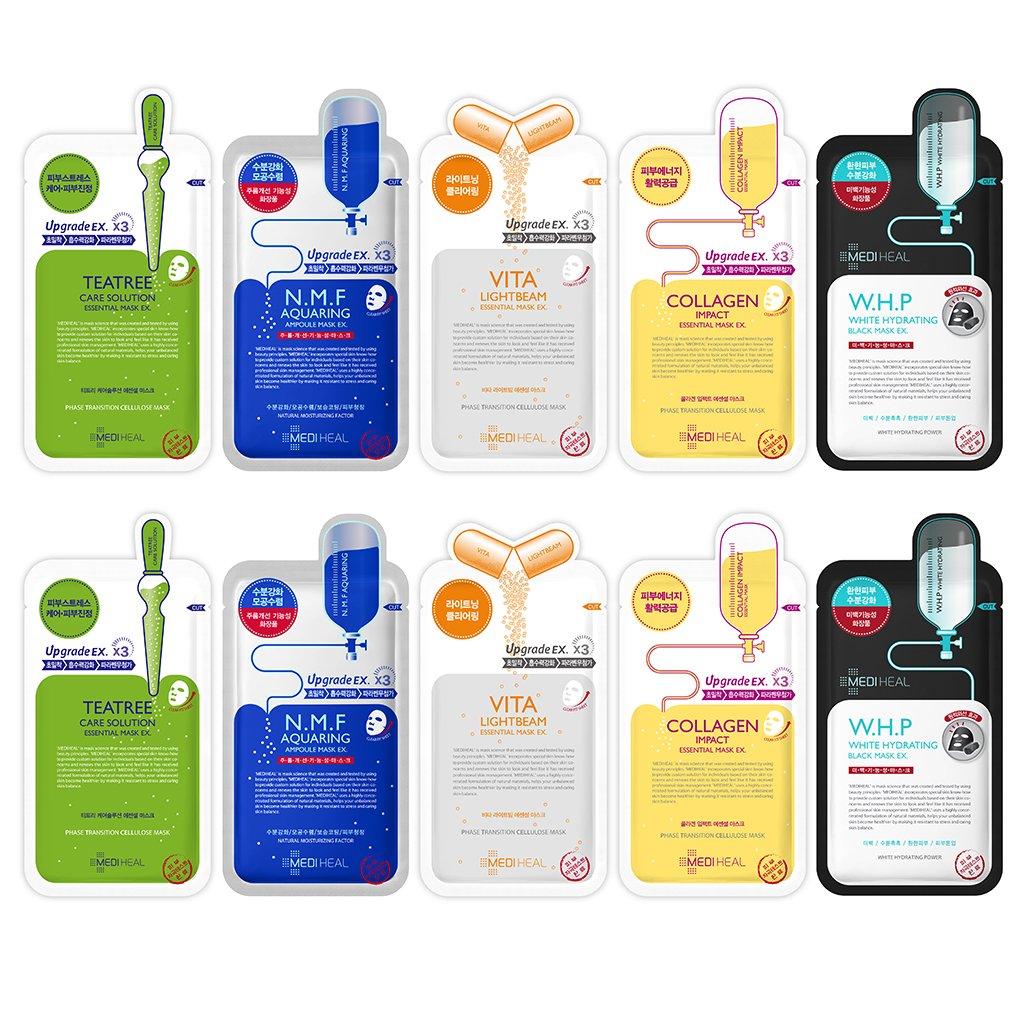 MEDIHEAL Best 5 Type Combo Mask Sheet Pack Of 10 - Teatree, N.M.F Aquaring, Vita Lightbeam, Collagen Impact, W.H.P White Hydrating