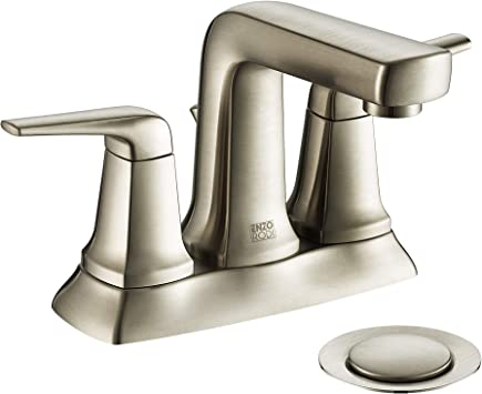 Enzo Rodi 4 Inch Centerset Bathroom Faucets Brushed Nickel Two Handle 3 Holes Bathroom Sink Faucet With Lift Pop Up Drain Assembly Erf2391425ap 10 Amazon Com