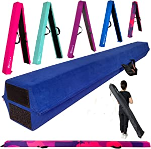 MARFULA 8 FT / 9 FT Folding Balance Beam Gymnastics Floor Beam - Extra Firm - Suede Cover - Anti Slip Bottom with Carry Bag for Kids/Adults Home Use