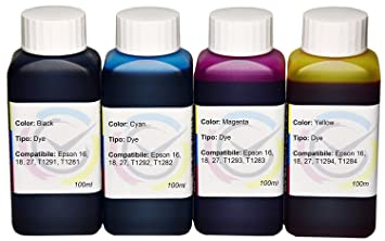 Kit 4 tintas) InkTec Dye compatible con CISS T2701/T2704 ...